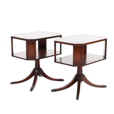 Pair of Weiman Regency Style Mahogany and Leather Inlay Side Tables