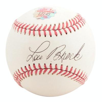 Lou Brock Signed Hall of Fame Player Rawlings Baseball