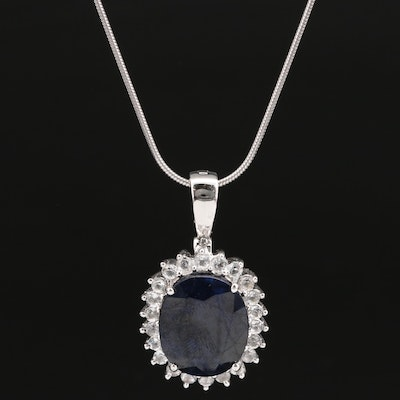 Sterling Silver Sapphire and Topaz Halo Enhancer Pendant Necklace