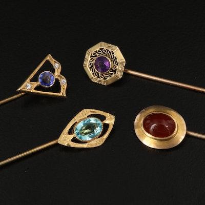 Antique Stick Pins Featuring Amethyst, Carnelian and Garnet Doublet