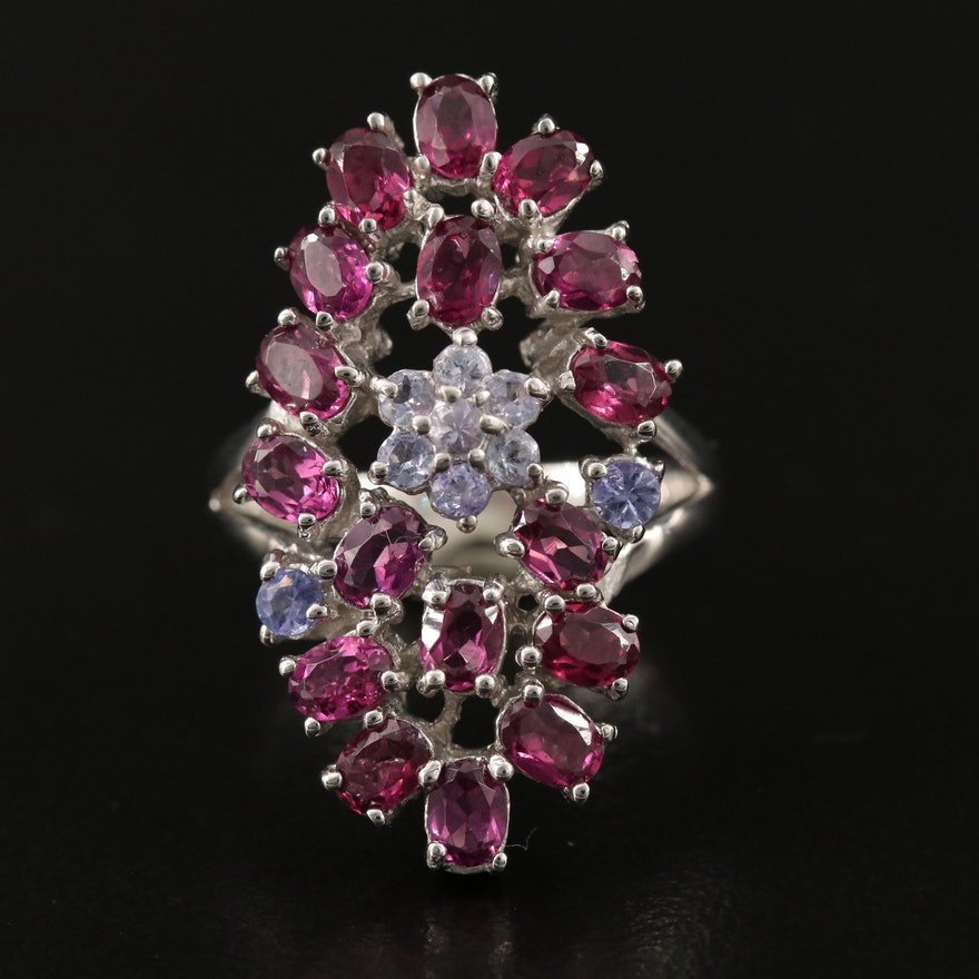 Sterling Silver Garnet and Tanzanite Cluster Ring Featuring Split Shoulders