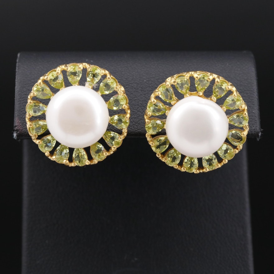 Sterling Silver Pearl and Peridot Button Earrings