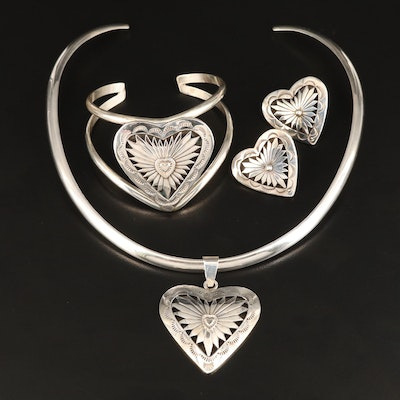 Western Style Signed Sterling Silver Shadowbox Heart Jewelry Set