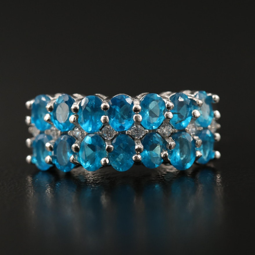 Sterling Silver Apatite and Cubic Zirconia Double Row Band