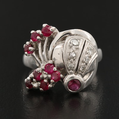 Retro 14K Ruby and Diamond Ring with Palladium Accents