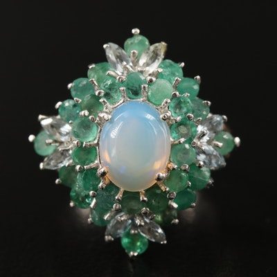 Sterling Silver Opal, Emerald and Aquamarine Ring