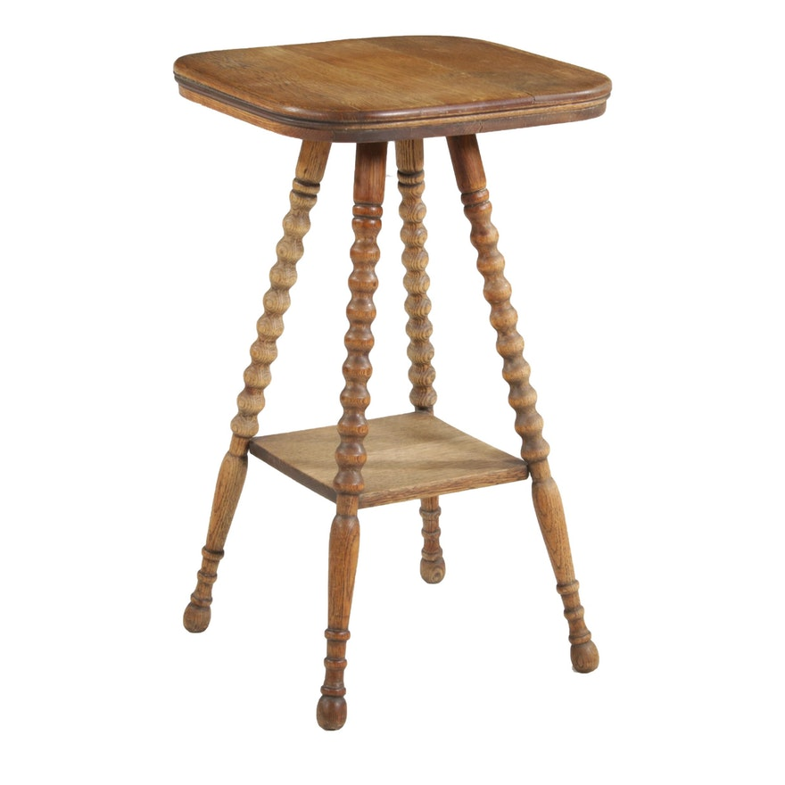 Late Victorian Oak Tiered Side Table, Late 19th Century