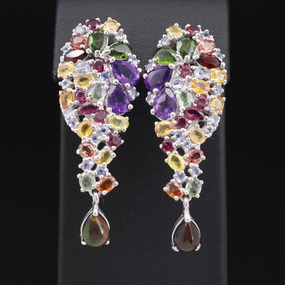 Sterling Silver Opal, Amethyst and Sapphire Cluster Drop Earrings