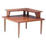 American of Martinsville Mid Century Modern Walnut Tiered Corner Table