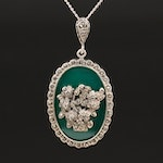 Sterling Silver Chalcedony and Marcasite Pedant Necklace
