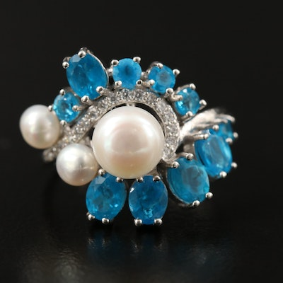 Sterling Silver Apatite, Cubic Zirconia and Pearl Graduated Ring