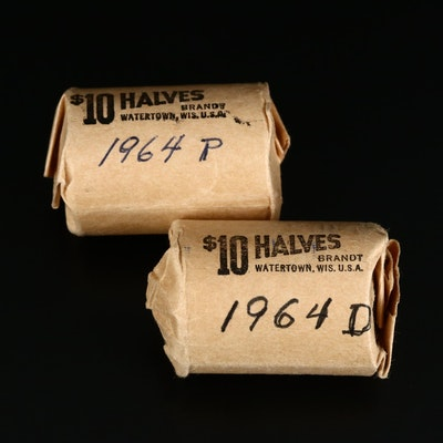Roll of 1964 and Roll of 1964-D Kennedy Silver Half Dollars