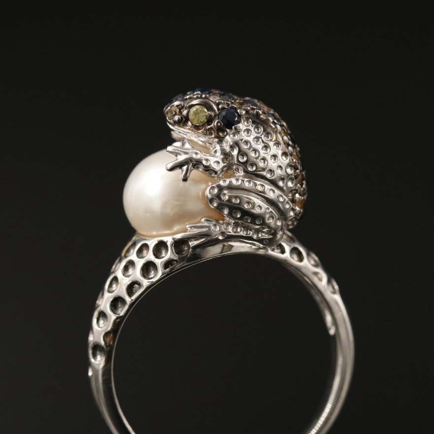Sterling Silver Pearl and Sapphire Frog Ring