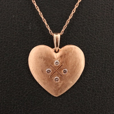 10K Rose Diamond Heart Pendant Necklace