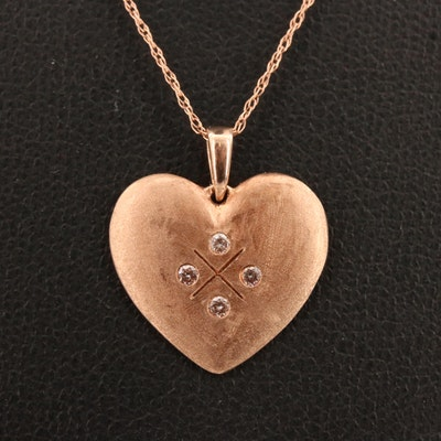 10K Rose Diamond Heart Pendant Necklace