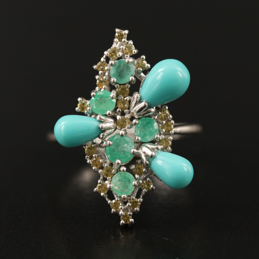 Sterling Silver Emerald, Turquoise and Tsavorite Ring