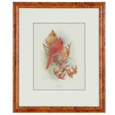 "John Ruthven Offset Lithograph ""Cardinals"", Late 20th Century"
