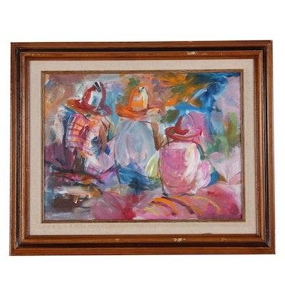 "Betty Plank Acrylic Painting ""Tres Caballeros"", 1986"