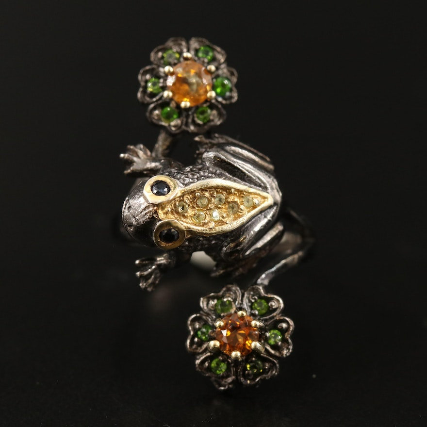 Sterling Silver Sapphire, Citrine and Diopside Frog and Floral Bypass Ring