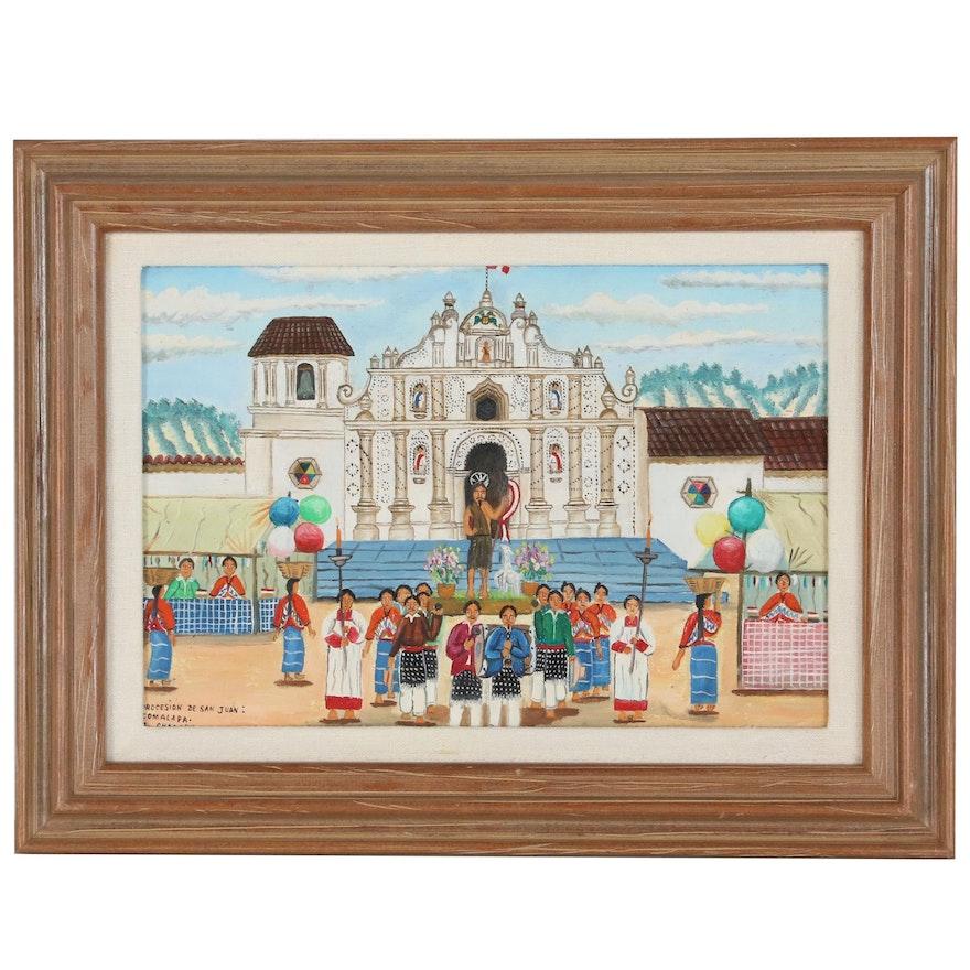 "Comalapa A. Chacach Oil Painting "" Procesion De San Juan"", Late 20th Century"