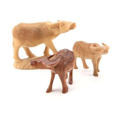 Carved Wooden Water Buffalo Figurines
