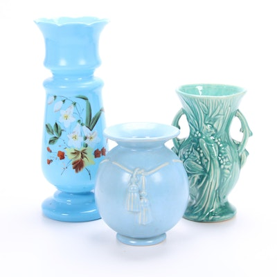 Weller Tassel, McCoy Bird of Paradise, and Bristol Hand-Painted Glass