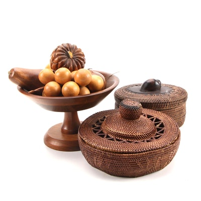 "Ozark ""Walnutware"" Solid Walnut Pedestal Bowl, Wooden Fruit and Woven Baskets"