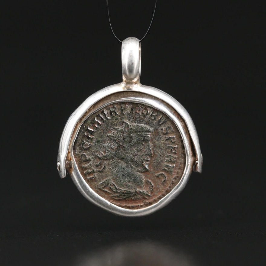 950 Silver Pendant with ca. 276 A.D. Ancient Roman Imperial AE Antoninianus Coin