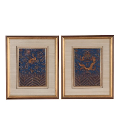 Chinese Goldwork Embroidered Silk Panels with Dragon and Phoenix Motifs