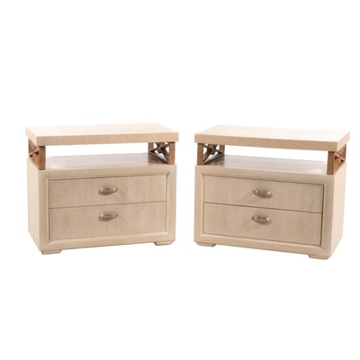 """Pair of Henredon """"Enchantment"""" Wood and Faux Marble Nightstands, Late 20th C."""