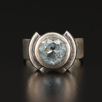 Sterling Silver Sky Blue Topaz Solitaire Ring