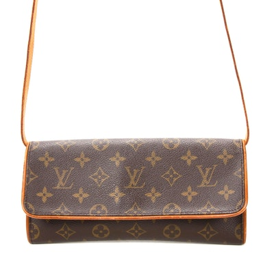 Louis Vuitton Crossbody Wallet Bag in Monogram Canvas and Vachetta Leather