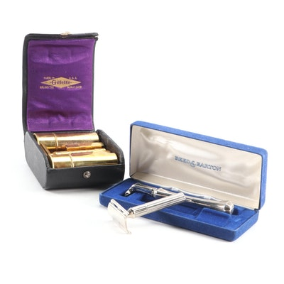 Reed & Barton Sterling Silver Razor Handle with Gillette Gold Tone Shaving Kit
