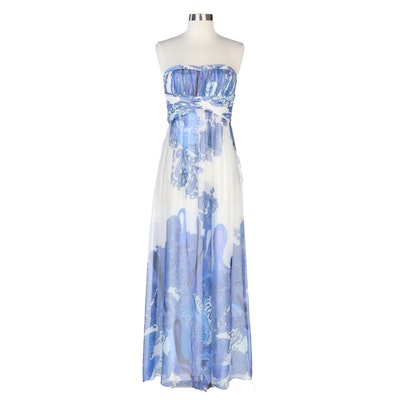 Aidan by Aidan Mattox Strapless Evening Dress in Blue Paisley Chiffon