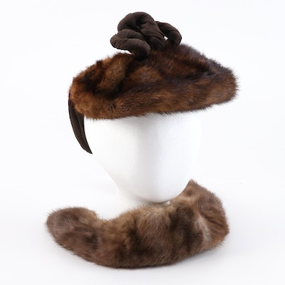 The Gidding Co. Mink Fur Snood Hat with Mink Fur Collar and Henry Harris Hat Box