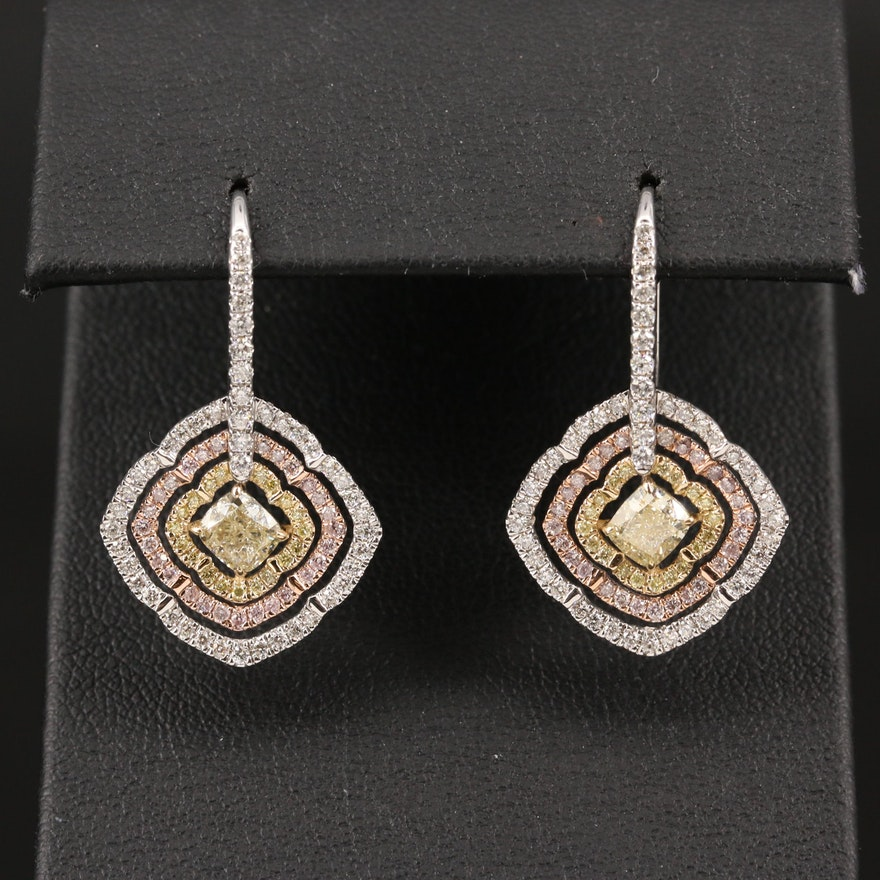 14K 2.14 CTW Diamond Tri-Color Drop Earrings