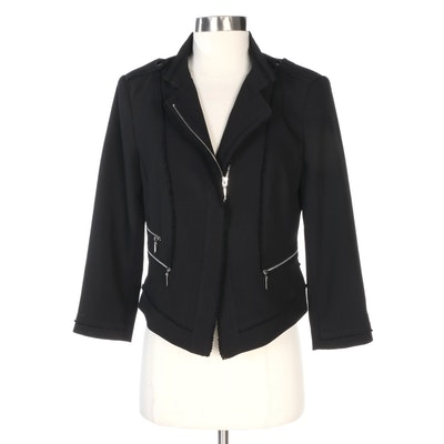 White House Black Market Asymmetrical Moto Style Zipper Jacket