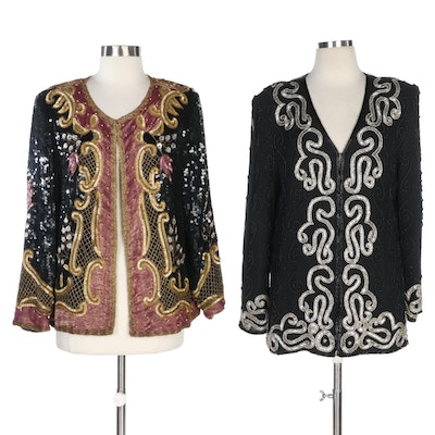 Royal Feelings and Creative Creations Embellished Silk Jackets, Vintage