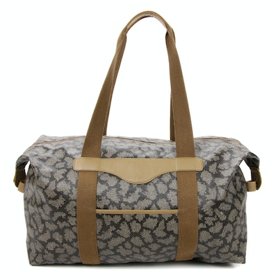 Yves Saint Laurent Tote in Animal Print Coated Canvas and Leather