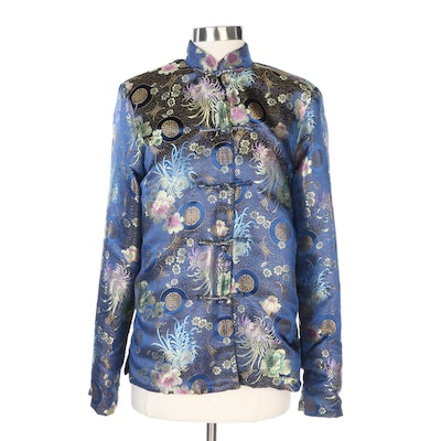 Chinese Tang Style Jacket in Blue Floral Brocade with Velour Lining