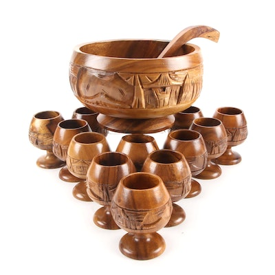 Hand Carved Monkey Pod Wood Punch Bowl Set with Ladle, Twelve Goblets