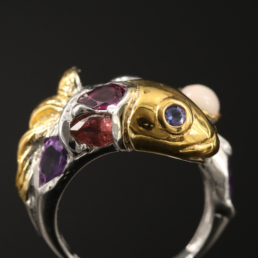 Sterling Opal, Amethyst and Rhodolite Garnet Fish Bypass Ring