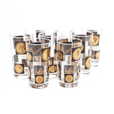 "Libbey ""Gold Coins"" Cocktail Glasses, Mid-20th Century"
