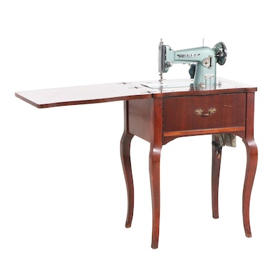 Morse Teal Metal Sewing Machine and Table, Mid-20th Century