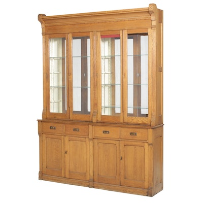 Late Victorian Oak Store Display Cabinet, Late 19th/Early 20th Century