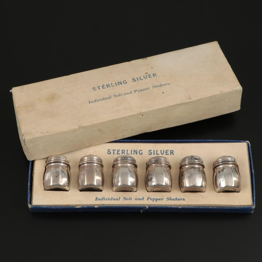Sterling Silver Salt and Pepper Shakers with Box, Mid-20th Century