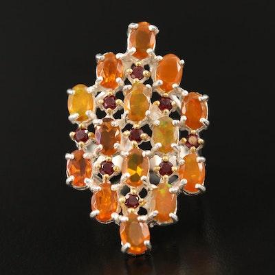 Sterling Silver Opal, Fire Opal and Garnet Ring with Split Shoulders