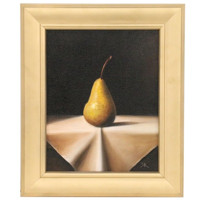 "Houra H. Alghizzi Still Life Oil Painting ""Bosc Pear on White Cloth"""
