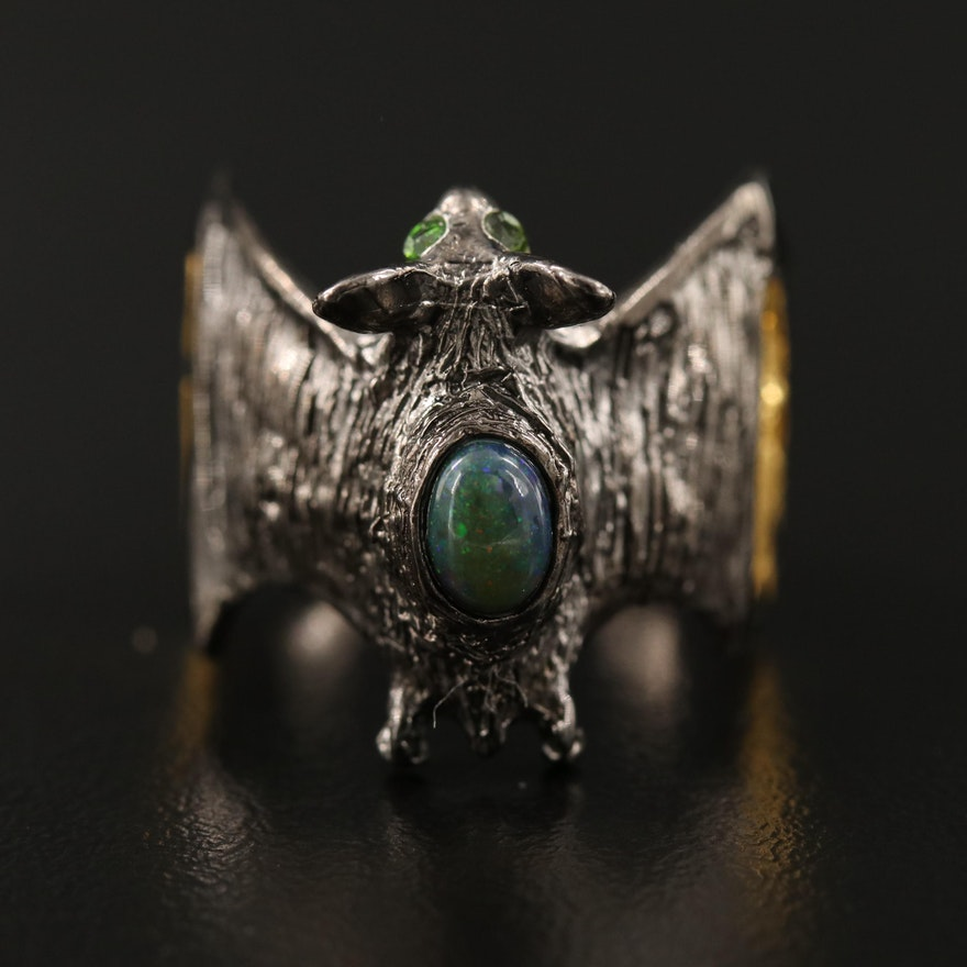 Sterling Silver Bat Motif Ring with Opal