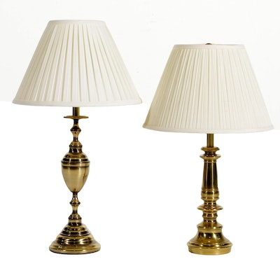 Two Turned Column Brass Table Lamps Including Stiffel
